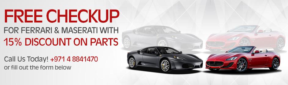 Ferrari & Maserati Free Checkup Promotion